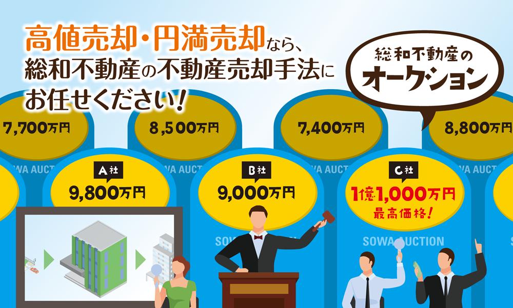 高値売却・円満売却なら、総和不動産の不動産販売手法(総和不動産のオークション)にお任せください!